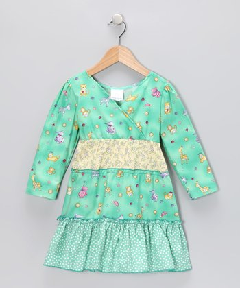 Green Baby Animals Ruffle Dress - Toddler & Girls