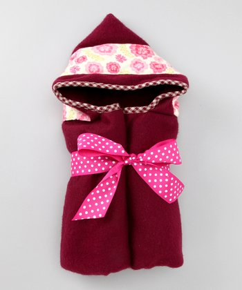 Burgundy Medallion Blooms Hooded Fleece Blanket