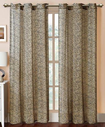 Taupe & Black Bengal Grommet Curtain Panel