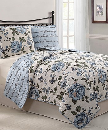 Blue Bella Reversible Quilt Set