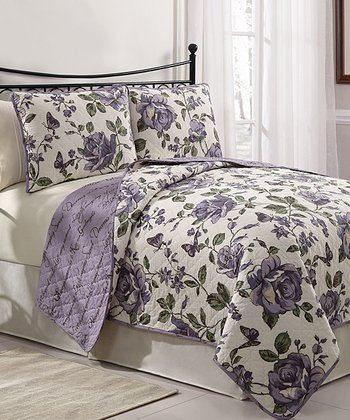 Purple Bella Reversible Quilt Set