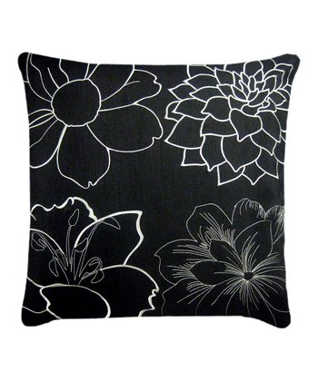 Black & Ivory Blossom Pillow