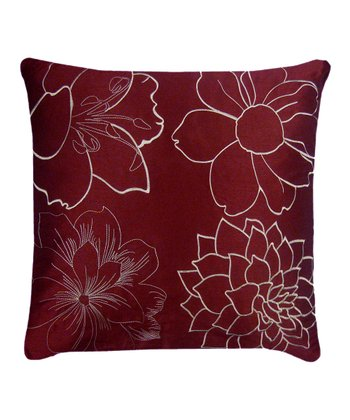 Burgundy & Ivory Blossom Pillow