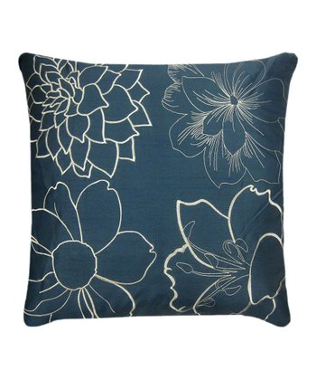Peacock Blue & Ivory Blossom Pillow