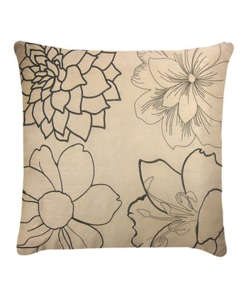 Taupe & Black Blossom Pillow