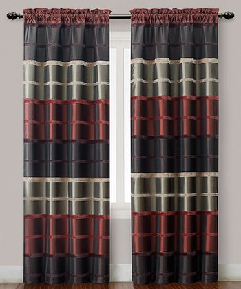 Red Plaid Bombay Curtain Panel - Set of Two