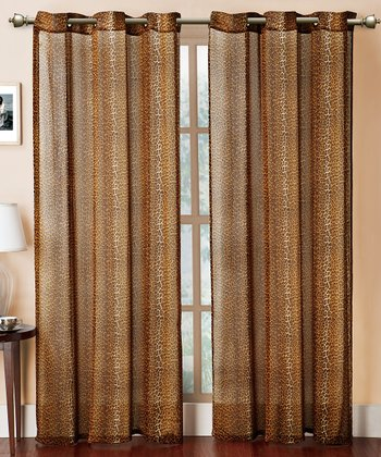 Gold Cheetah Grommet Curtain Panel
