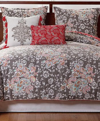 Taupe & Red Capri Reversible Full/Queen Comforter Set