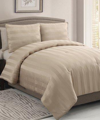 Gold Dobby Comforter Set
