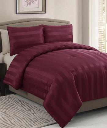 Red Dobby Queen Comforter Set