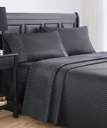 Black Stripes Dobby Queen Sheet Set