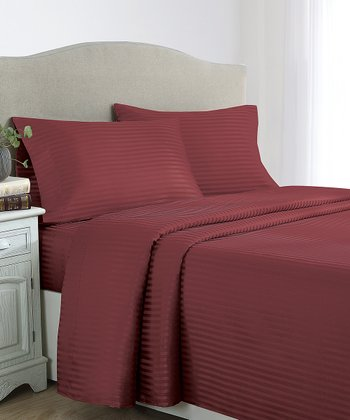 Burgundy Stripes Dobby Sheet Set