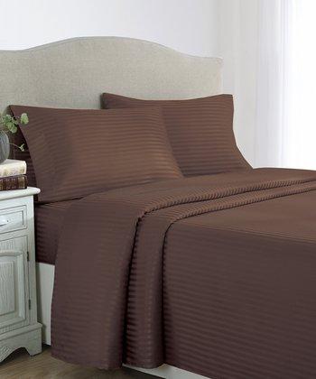 Chocolate Stripes Dobby Sheet Set