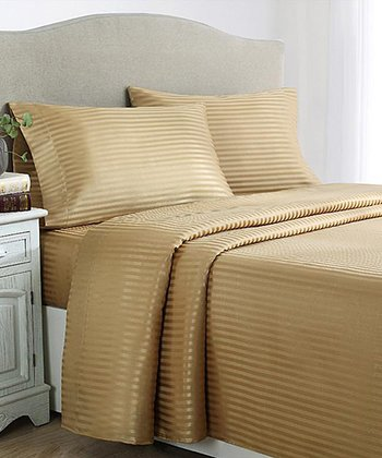Gold Stripes Dobby Sheet Set