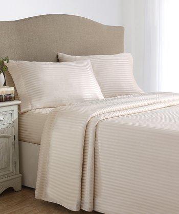 Ivory Stripes Dobby Sheet Set