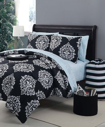 Black & Blue Daria Comforter Set