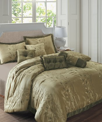 Taupe & Green Ellie Comforter Set