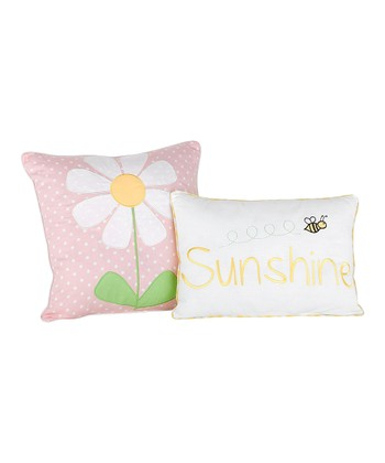 Pink Lazy Daisy Throw Pillow Set