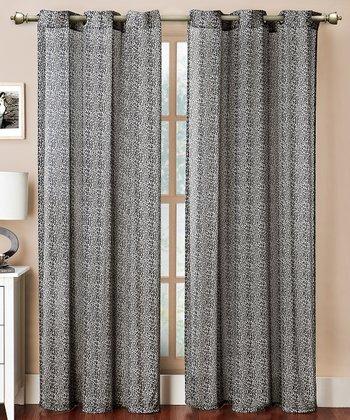 Black Leopard Grommet Curtain Panel