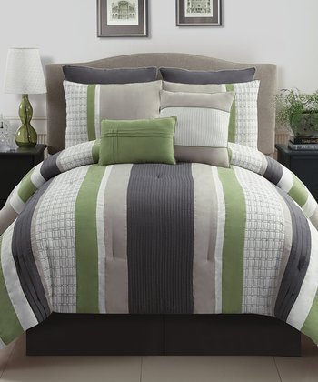 Green & Gray Madison Queen Comforter Set