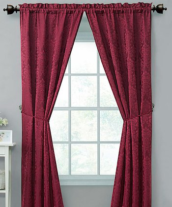 Red Madison Curtain Panel - Set of Two