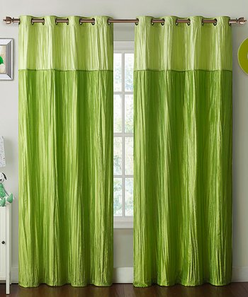 Lime Contrast Crushed Mondrian Curtain Panel