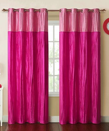 Pink Contrast Crushed Mondrian Curtain Panel