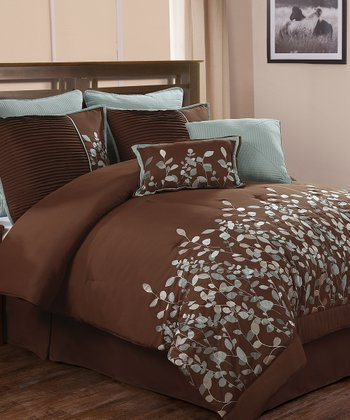 Chocolate & Blue Jardin Luxury Comforter Set