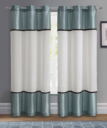 Blue Mason Grommet Curtain Panel