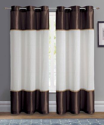 Chocolate Mason Grommet Curtain Panel