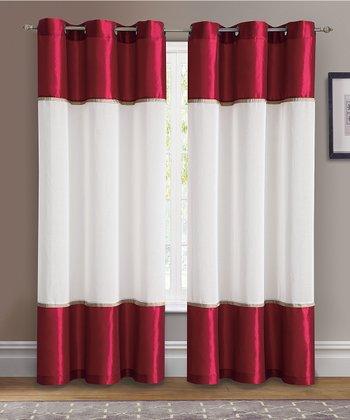 Red Mason Grommet Curtain Panel