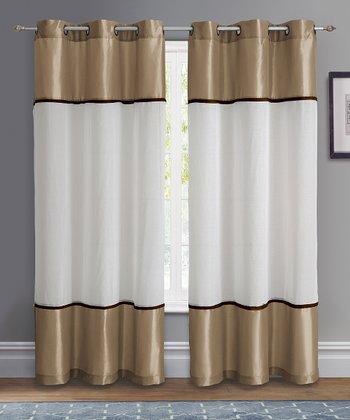Taupe Mason Grommet Curtain Panel