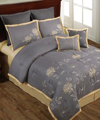 Gray & Yellow Mayflower Floral Comforter Set