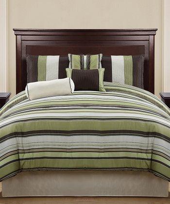 Green & Chocolate Regal Reversible Comforter Set