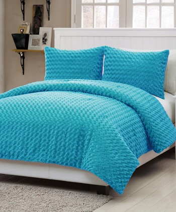 Blue Rose Fur Comforter Set