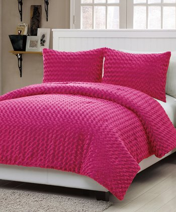 Pink Rose Fur Comforter Set