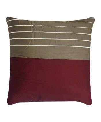 Burgundy & Taupe Embroidered Pillow