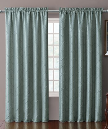 Blue Sable Pin Tuck Curtain Panel