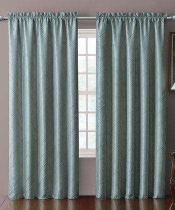 Blue Sable Pin Tuck Curtain Panel