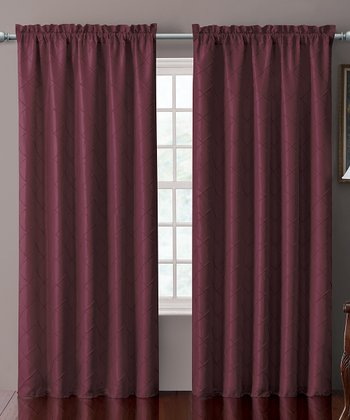 Burgundy Sable Pin Tuck Curtain Panel