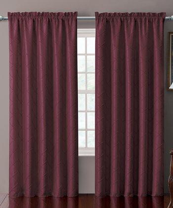 Burgundy Sable Pin Tuck Curtain Panel