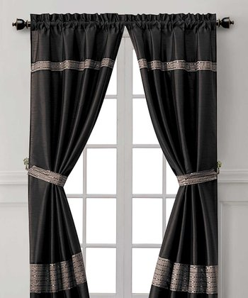 Black & Gray Soriano Curtain Panel - Set of Two