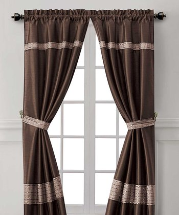 Chocolate & Taupe Soriano Curtain Panel - Set of Two
