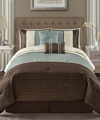 Blue Vaugh Pin Tuck Queen Comforter Set