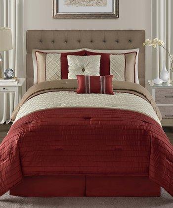 Red Vaugh Pin Tuck Comforter Set