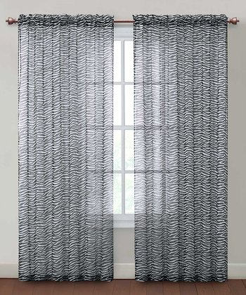 Black Zebra Grommet Curtain Panel