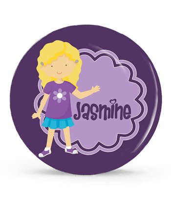 Blonde Happy Girl Personalized Plate