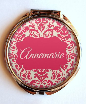 Coral Damask Personalized Compact Mirror