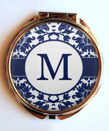 Navy Initial Personalized Compact Mirror