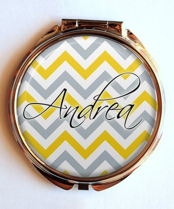 Yellow Zigzag Personalized Compact Mirror